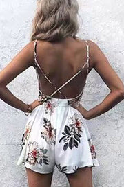 Spaghetti Straps Deep V-neck Flower Print Short Jumpsuit