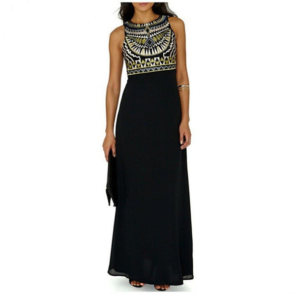 Beautiful Geometry Print Sleeveless Black Chiffon Long Dress