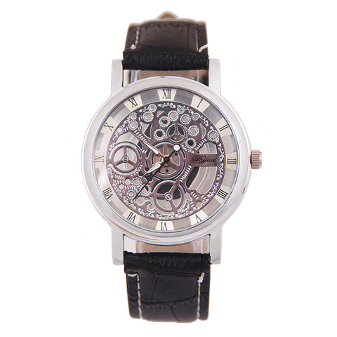Hollow Out Dial Leather Watch
