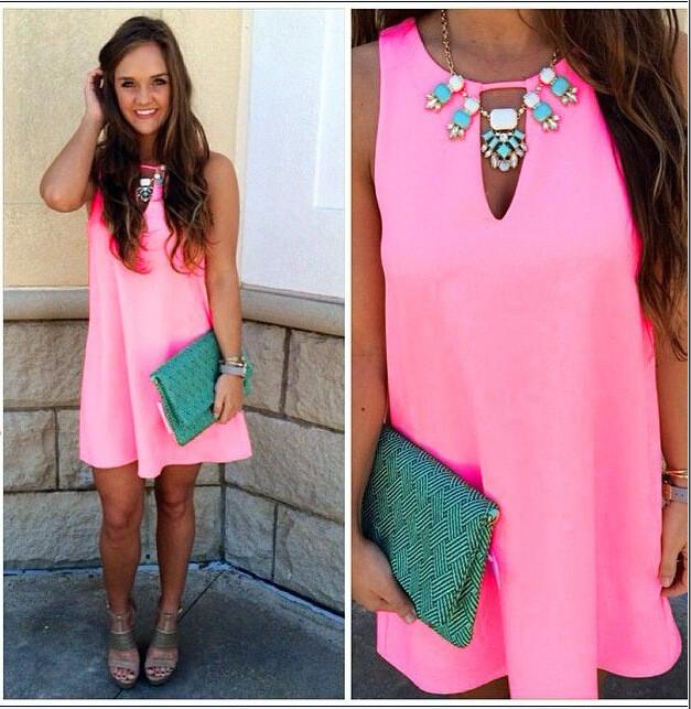 Candy Color Loose Sleeveless Chiffon Short Dress - Meet Yours Fashion - 3