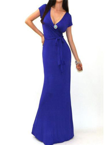 Slim V-neck Short Sleeve Floor Length Long Dress