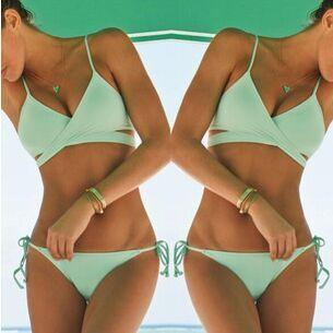 Cross Wrap Strappy Spaghetti Strap Bikini Set Swimwear - Meet Yours Fashion - 1
