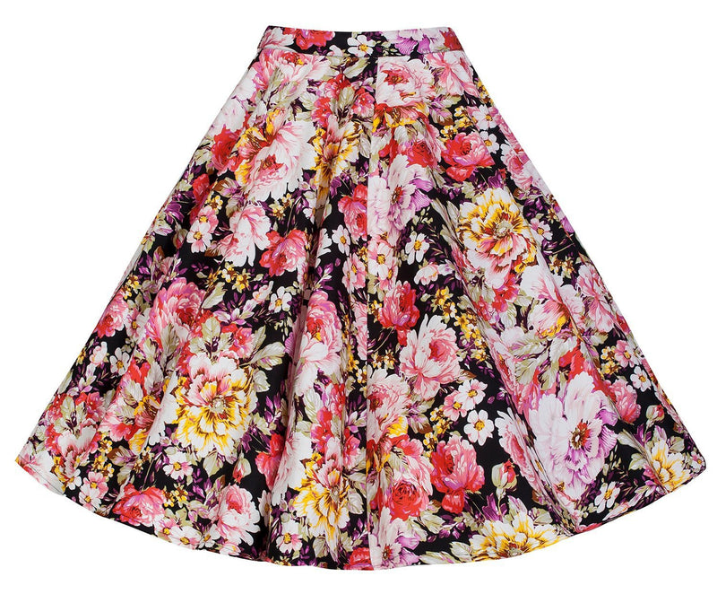 3D Flower Print Flare Ruffled Middle Skirt - Meet Yours Fashion - 9