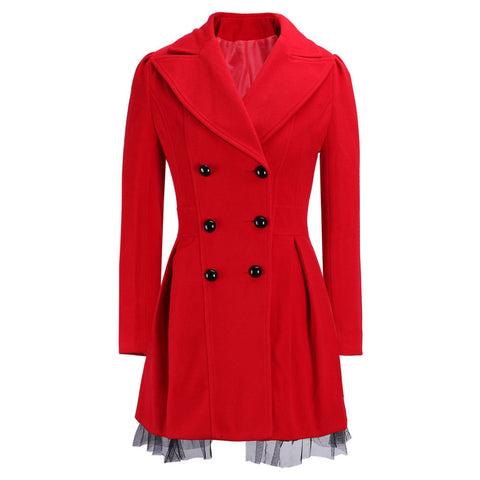 Double-Breasted Beam Waist Ruffles Women's Coat - Meet Yours Fashion - 5