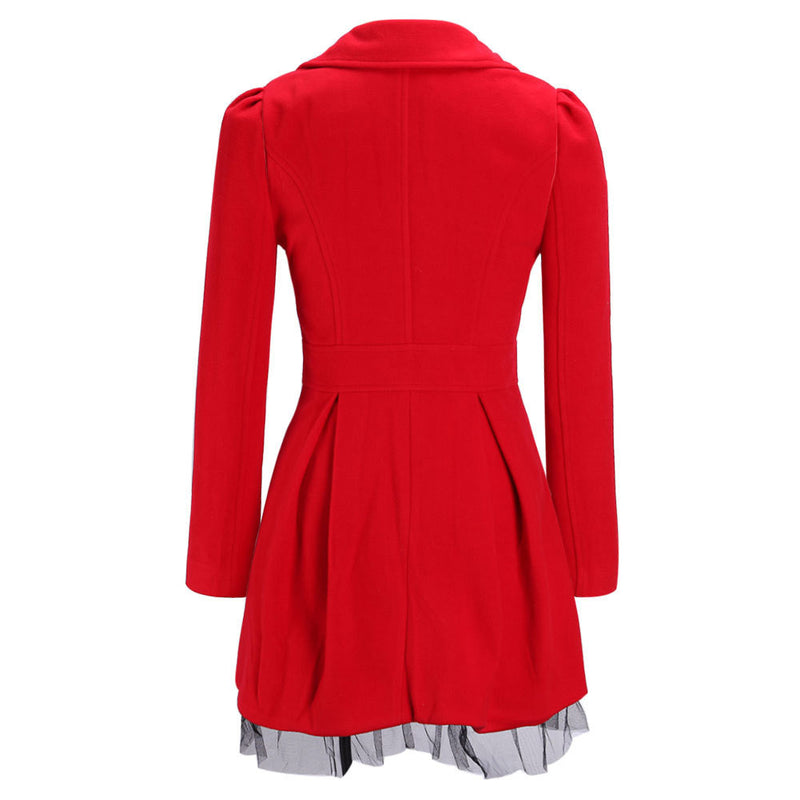 Double-Breasted Beam Waist Ruffles Women's Coat - Meet Yours Fashion - 8
