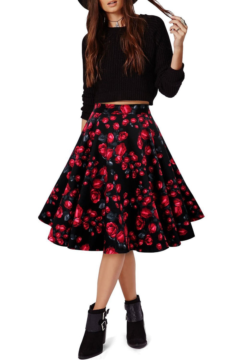 3D Flower Print Flare Ruffled Middle Skirt - Meet Yours Fashion - 1