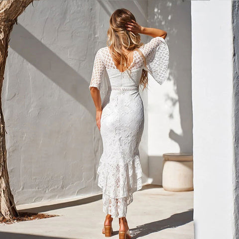 Petal Sleeve Lace Mermaid Dress