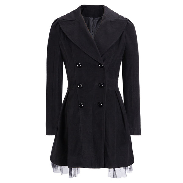 Double-Breasted Beam Waist Ruffles Women's Coat - Meet Yours Fashion - 3