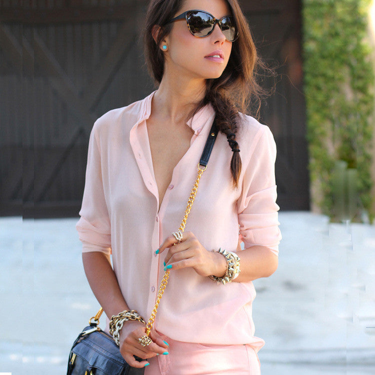 Long Sleeves Pure Color V-neck Slim Blouse