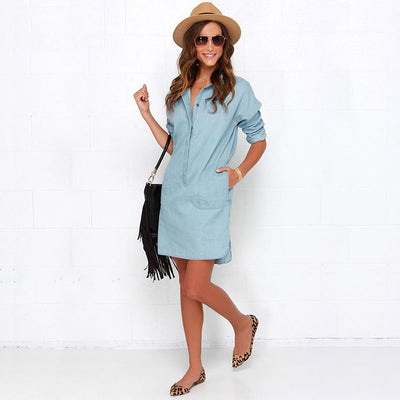 Side Split Turn Down Collar Cowboy Denim Dress - Meet Yours Fashion - 5