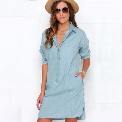 Side Split Turn Down Collar Cowboy Denim Dress - Meet Yours Fashion - 2