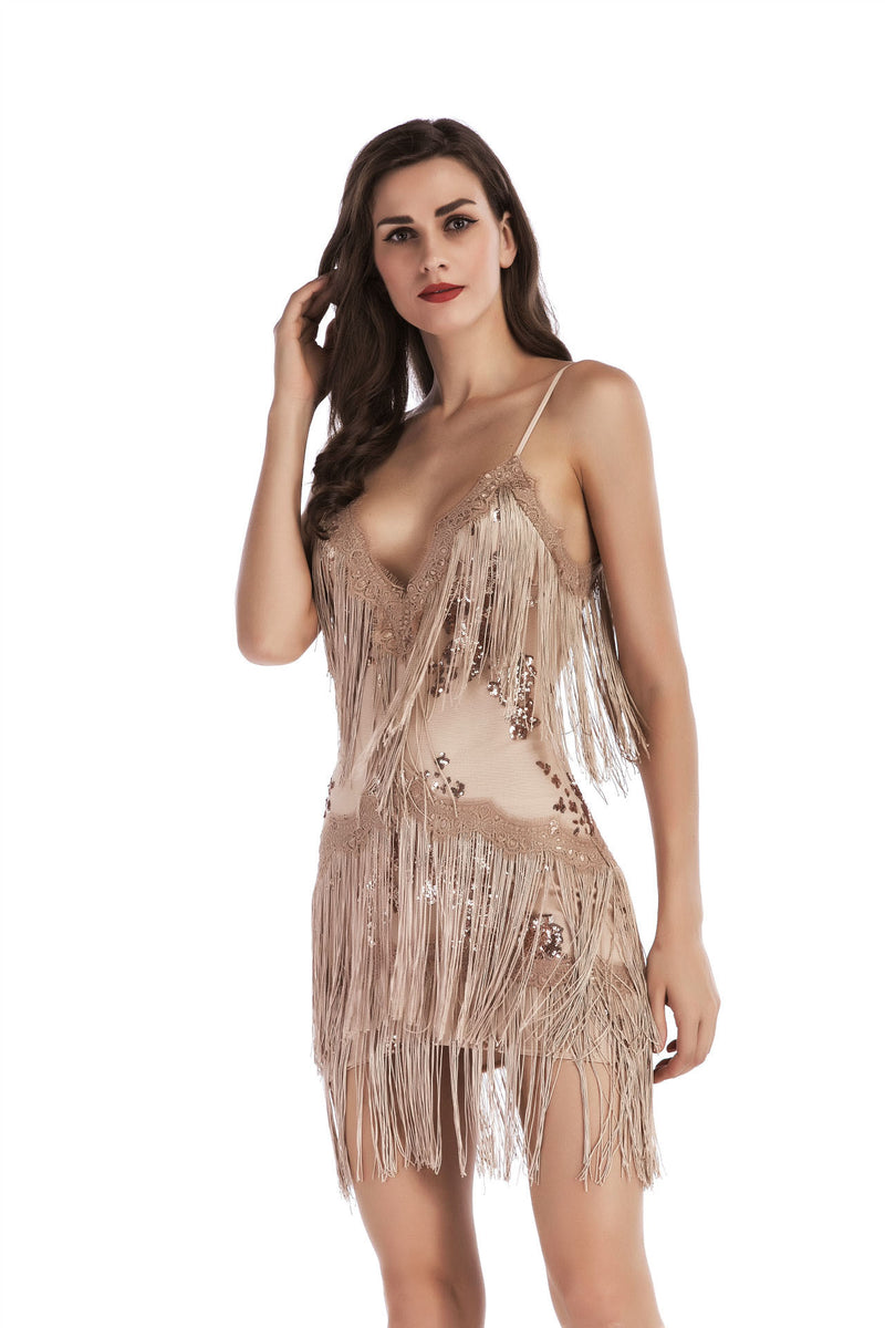 Transparent Spaghetti Straps Embroidery Sequins Tassels Short Dress