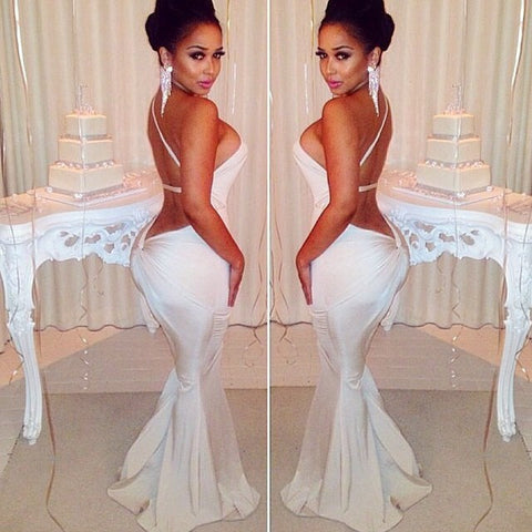 Bandage Backless One Shoulder Mermaid Beach Dress - MeetYoursFashion - 4