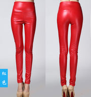 Thick High Waist Pu Skinny Pencil Slim Leggings