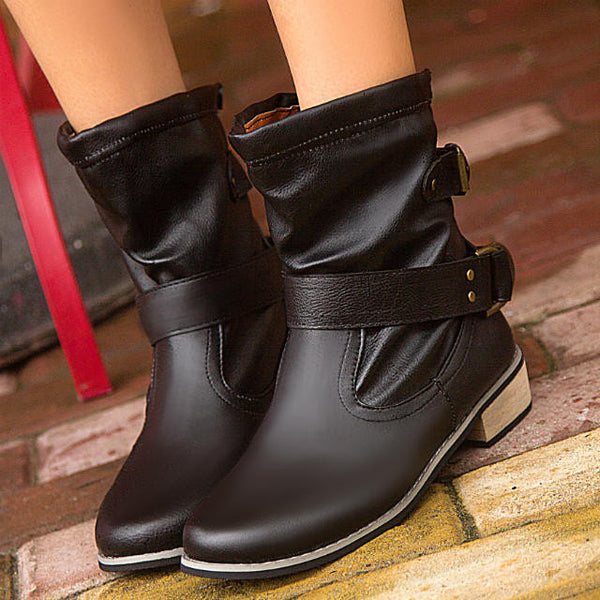 Buckle Belt Square-Heeled Short Motor Boots