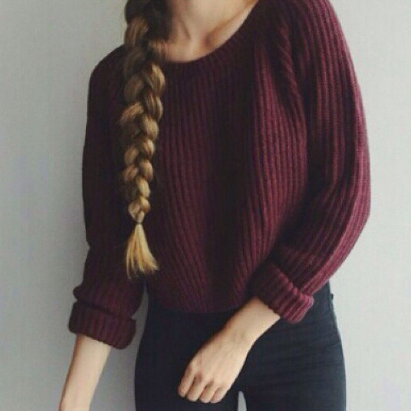 Wine Red Solid Color Knit Pullover Sweater - Meet Yours Fashion - 2