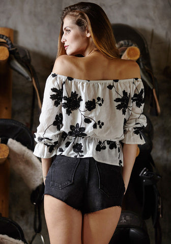 Off-shoulder Flower Print Strapless Loose Sexy Blouse - Meet Yours Fashion - 4