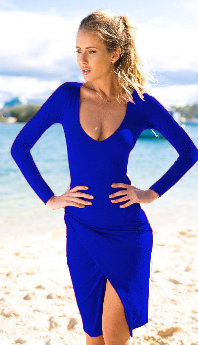 Low-cut Bodycon Irregular Pure Color Sexy Dress - Meet Yours Fashion - 5
