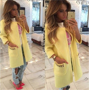 Candy Colors Scoop 9/10 Sleeves Long Loose Coat - Meet Yours Fashion - 4