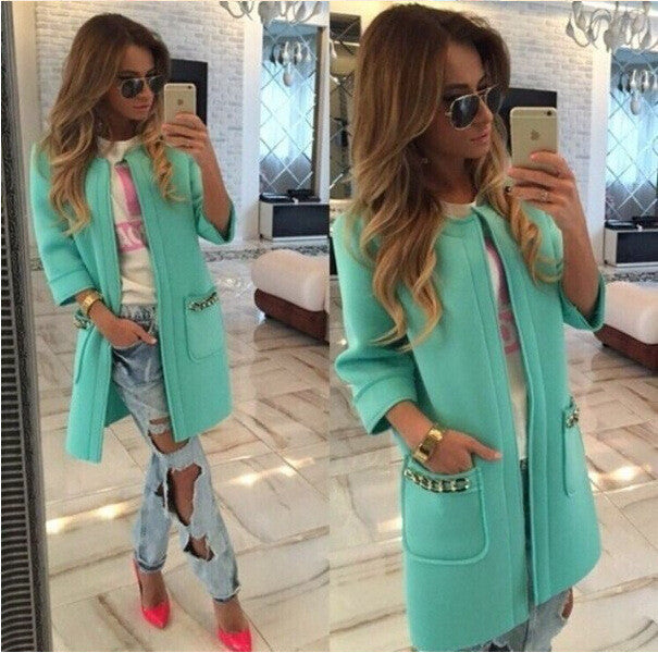 Candy Colors Scoop 9/10 Sleeves Long Loose Coat - Meet Yours Fashion - 2