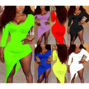 Candy Color Irregular O-neck Long Sleeve Short Dress - Meet Yours Fashion - 1