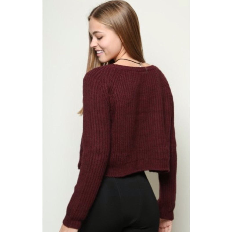 Wine Red Solid Color Knit Pullover Sweater - Meet Yours Fashion - 5