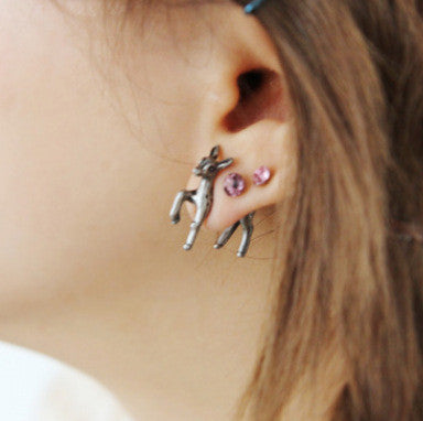3D Elk Punk Style Throgh Single Earrings