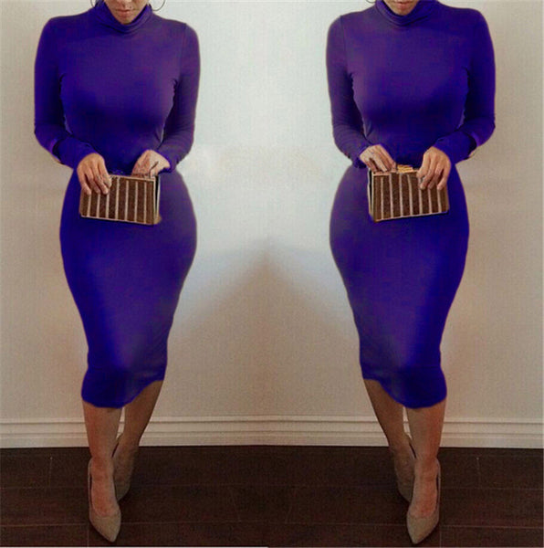 High Neck Long Sleeves Bodycon Pure Color Party ClubDress - MeetYoursFashion - 9