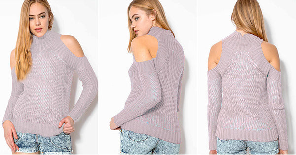Bear Shoulder High Collar Hollow Pure Color Sexy Sweater - Meet Yours Fashion - 5