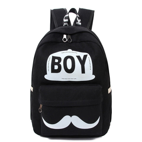 BOY Mustache Print Classical Canvas Backpack School Bag - Meet Yours Fashion - 2