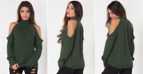 Bear Shoulder High Collar Hollow Pure Color Sexy Sweater - Meet Yours Fashion - 7