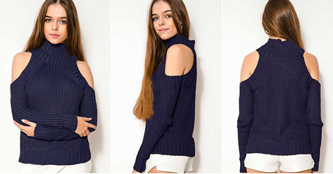 Bear Shoulder High Collar Hollow Pure Color Sexy Sweater - Meet Yours Fashion - 6