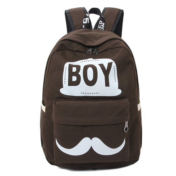 BOY Mustache Print Classical Canvas Backpack School Bag - Meet Yours Fashion - 5