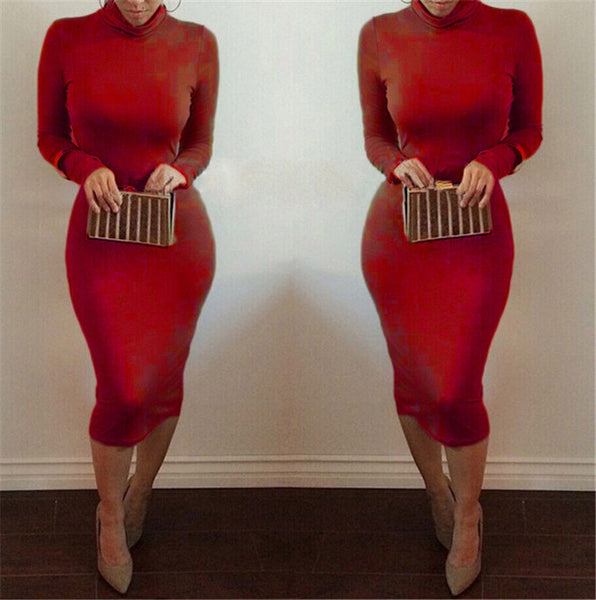 High Neck Long Sleeves Bodycon Pure Color Party ClubDress - MeetYoursFashion - 5
