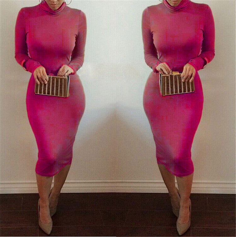 High Neck Long Sleeves Bodycon Pure Color Party ClubDress - MeetYoursFashion - 6