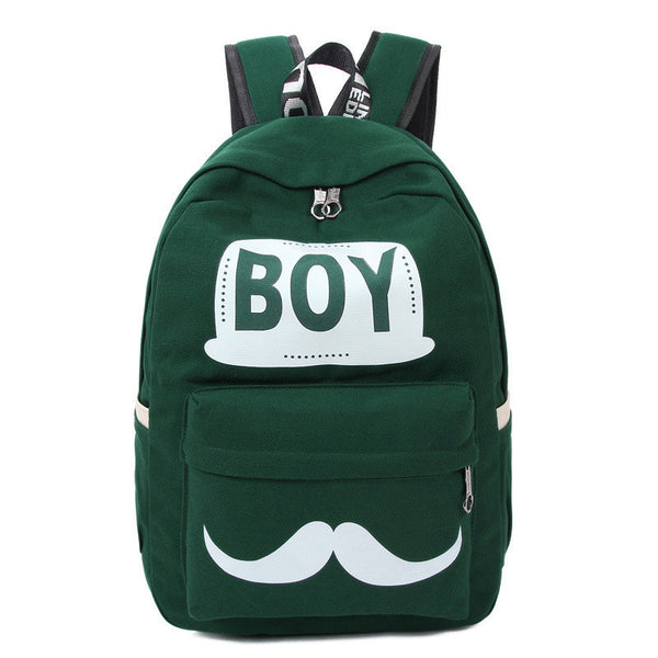 BOY Mustache Print Classical Canvas Backpack School Bag - Meet Yours Fashion - 4