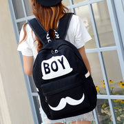 BOY Mustache Print Classical Canvas Backpack School Bag - Meet Yours Fashion - 6