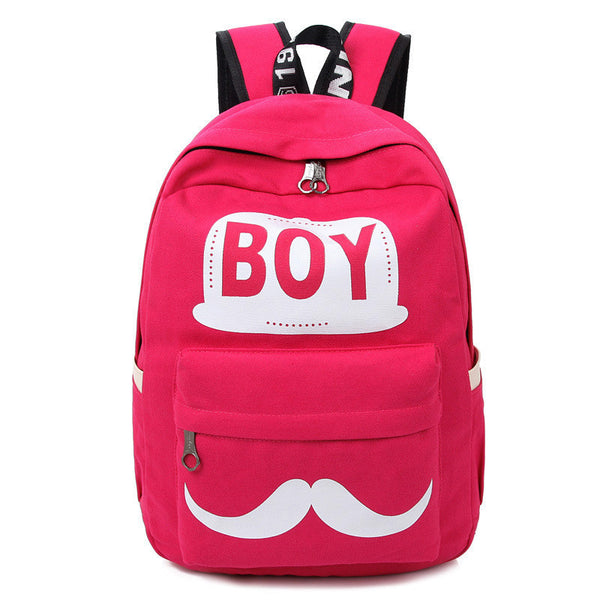 BOY Mustache Print Classical Canvas Backpack School Bag - Meet Yours Fashion - 3