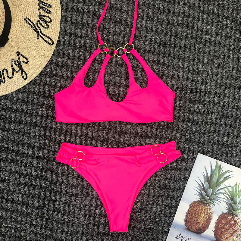 Rose Red Halter Cutout Mid Rise Thong Bottom Bikinis
