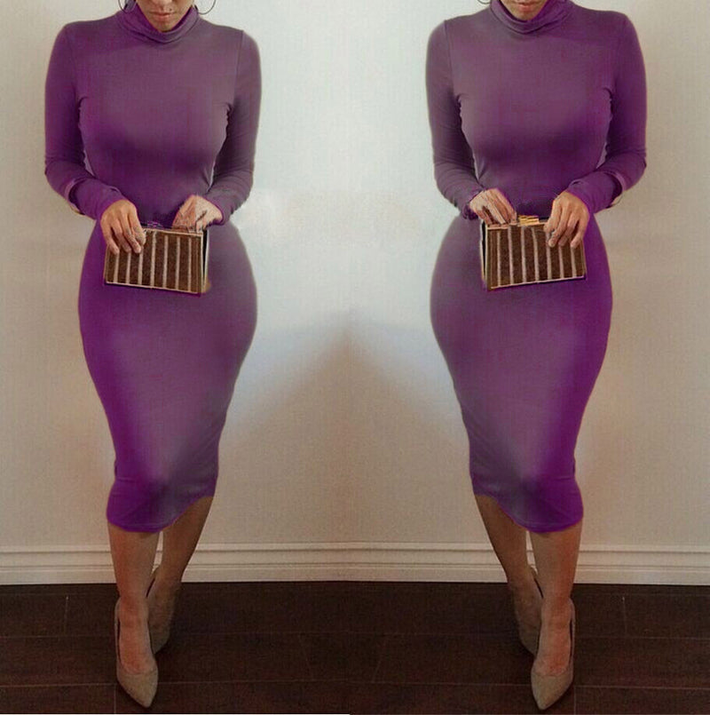 High Neck Long Sleeves Bodycon Pure Color Party ClubDress - MeetYoursFashion - 8