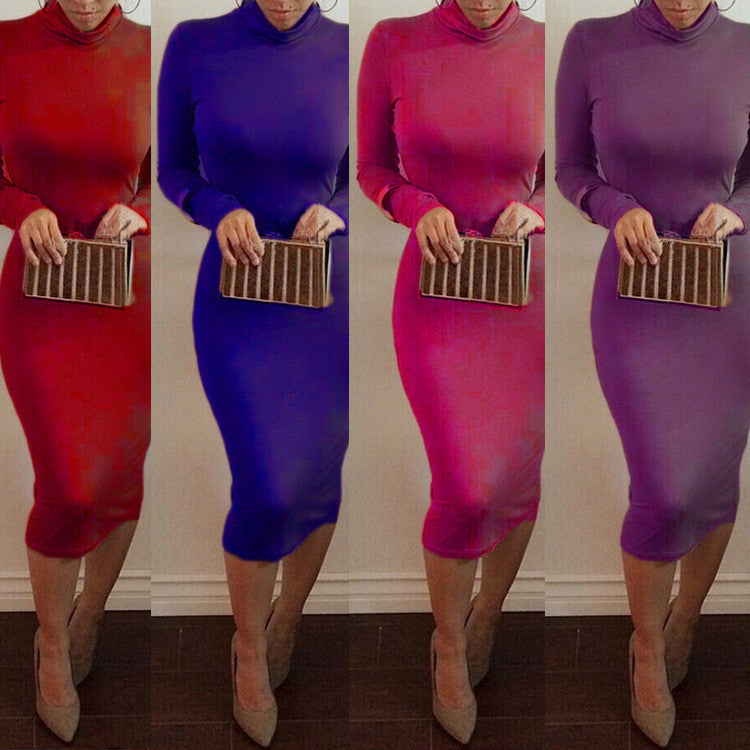 High Neck Long Sleeves Bodycon Pure Color Party ClubDress - MeetYoursFashion - 12
