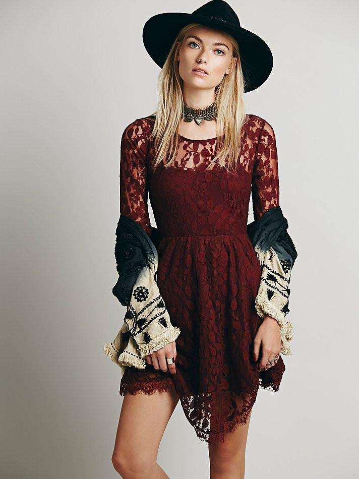Lace Long Sleeve Pure Color O-neck Irregular Short Dress - Meet Yours Fashion - 1