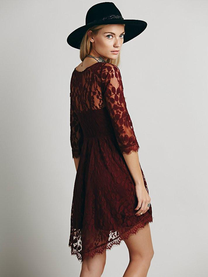 Lace Long Sleeve Pure Color O-neck Irregular Short Dress - Meet Yours Fashion - 5