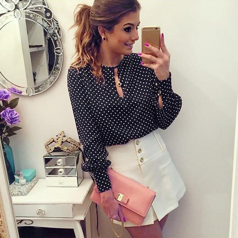 Black And White Dots Printed Long Puff Sleeves Scoop Blouse - Meet Yours Fashion - 1