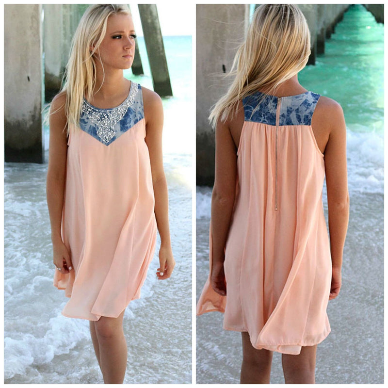Fashion Sleeveless Scoop Short Beach Sress - Meet Yours Fashion - 1