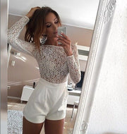 Lace Patchwork Long Sleeves Scoop Short Jumpsuit - Meet Yours Fashion - 2