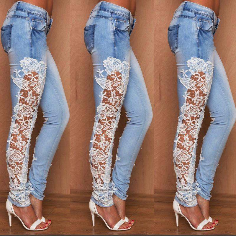Elastic Lace Patchwork Slim Sheath Sexy Jeans - Meet Yours Fashion - 2