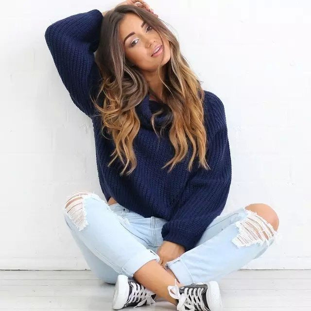 High Collar Pure Color Midriff Lapel Pullover Short Sweater - Meet Yours Fashion - 4