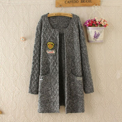 Round Neck Cardigan Pockets Knit Long Sweater - Meet Yours Fashion - 3