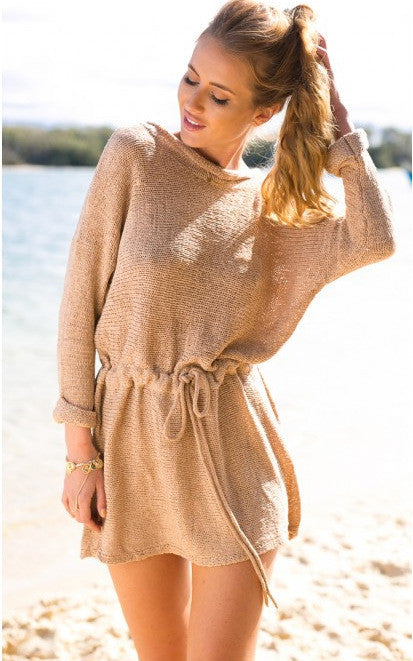 Retro Loose Long Sleeves Solid Color SweatDress - Meet Yours Fashion - 1
